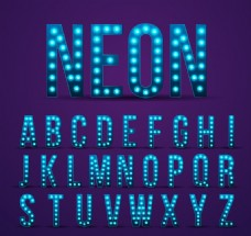 26个蓝色霓虹灯大写字母矢量