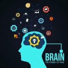 创造性概念头灯泡图标点脑连接免费矢量