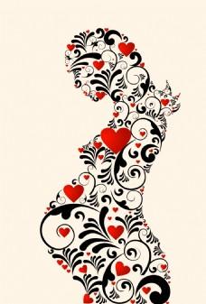 浪漫花纹组成的孕妇插画