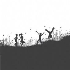 郊外玩耍的4个儿童剪影矢量图