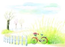 蓝色绿草手绘插画