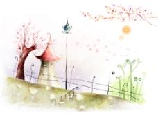 韩国时尚花纹图案背景