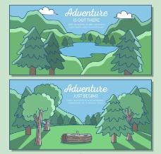 2款彩绘森林与湖泊风景矢量
