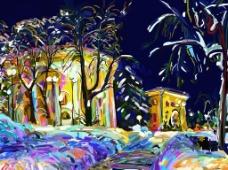 美丽的夜景插画