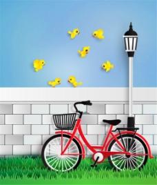 停在墙边的单车和黄色小鸟矢量素材