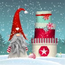 卡通冬季精灵和礼盒矢量素材