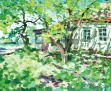 绿色的院子风景插画