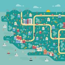 创意城市风景与人群矢量