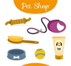 6款彩色宠物狗用品矢量素材