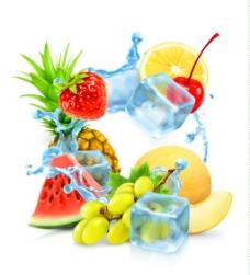 多种新鲜水果和冰块矢量素材