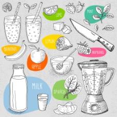 手绘制作果汁的插画