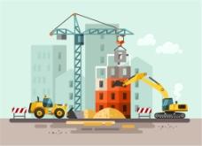 扁平化建筑施工插画矢量素材