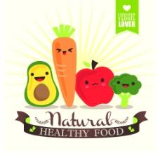卡通可爱的蔬菜插画