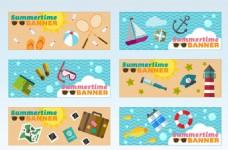 夏季扁平沙滩旅游宣传BANNER海报