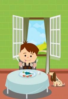 童年背景的孩子吃海鲜