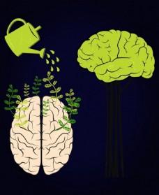 大脑的成长背景淋壶图标设计
