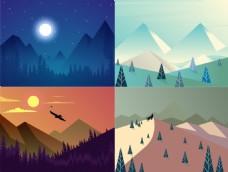 扁平商业景观插画素材