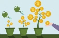 投资理念的背景下成长的树木硬币符号设计