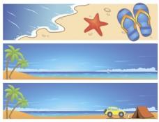 蓝色海边夏日度假沙滩矢量素材