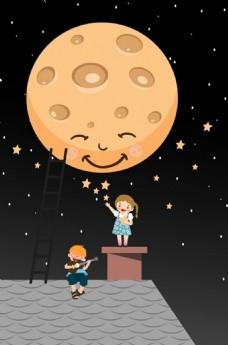 梦幻背景程式化的圆的月亮嬉戏的孩子