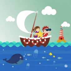 孩子背景帆船海洋物种图标动画设计免费矢量