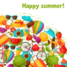 卡通元素夏日多彩矢量背景素材