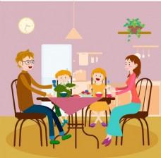 家庭晚餐矢量背景