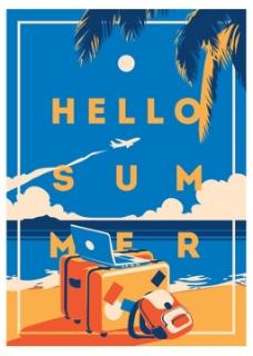蓝天白云复古夏日假期度假矢量海报背景