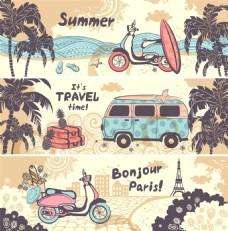 夏日度假沙滩椰树卡通矢量素材