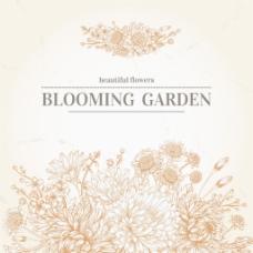 手绘复古婚礼夏日花朵绽放矢量背景
