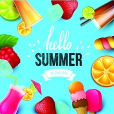 棒冰饮料夏日水果矢量海报