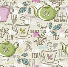 手绘清新绿茶背景