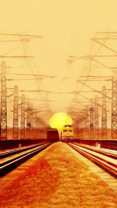 铁轨火车H5背景素材