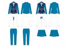 秋冬西装男女礼服套装款式图效果图