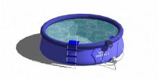 紫色圆形泳池效果图