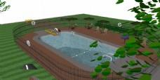 田园泳池效果图