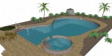 学校游泳池建筑效果图