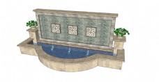 现代化喷泉景观墙SU草图大师skp模型