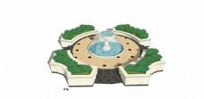 公园喷泉绿化景观