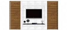 简约现代木纹电视背景墙skp模型