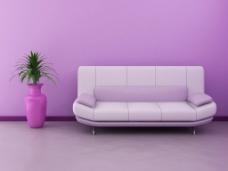 现代紫色时尚客厅效果图图片素材