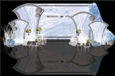 蓝灰色小清新大理石婚礼迎宾区效果图
