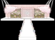 粉色铁艺樱花树雪花婚礼主背景效果图