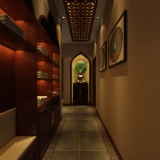 泰式风格美容院走廊工装效果图