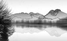 水墨山水风景图装饰画背景墙