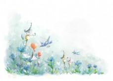 手绘水彩花卉梦幻浪漫背景墙