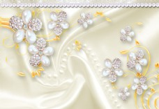 3D立体感珠宝丝绸珍珠浮雕背景墙