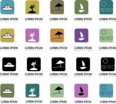 彩色logo夏日度假沙滩椰树矢量素材