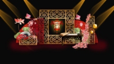 中式荷花灯笼雕花婚礼展示区签到效果图