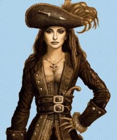 美女海盗免抠png透明图层素材